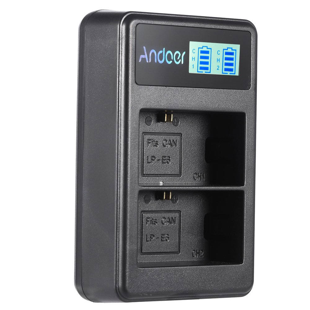 Andoer LP-E6 Rechargeable LED Display Li-ion Battery Charger Pack 2-Slot USB Cable Kit for Canon EOS 6D 7D 70D 60D 5D Mark III Mark II Digital SLR Camera