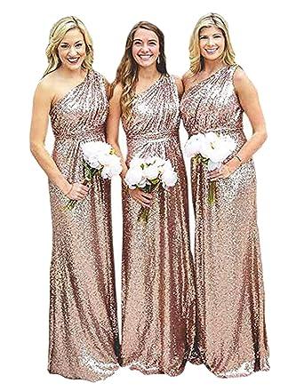 Rose Gold Bridesmaid Prom Dresses US2