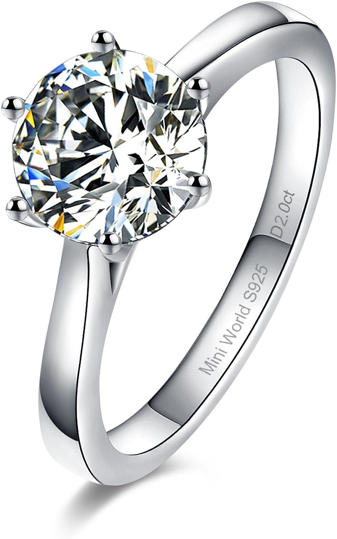 WILDD Wedding Rings Swarovski Stone Silver Sterling Engagement Anniversary  Band Solitaire Stone