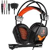SADES SA 921 Stereo Gaming Headset, leggero sopra l'orecchio Computer Game cuffie 3.5mm Jack con microfono per PC Laptop / MAC / PS4 / XBOX ONE / iPad / telefoni con l'adattatore libero Splitter (nero arancione)