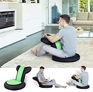 JSVER Armrest Video Gaming Chair Floor for Child and Adult with 14 Positions for Home Video Gaming and Reading, Black & Green
