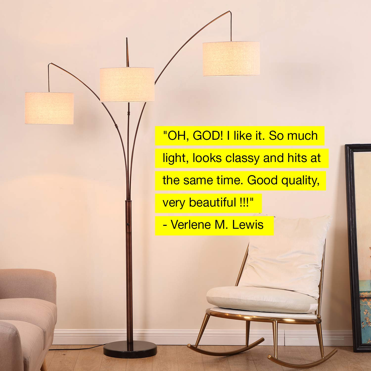 Brightech Trilage - Modern LED Arc Floor Lamp with Marble Base - Free Standing Behind The Couch Lamp for Living Room - 3 Hanging Lights, Great for Reading - Oil Rubbed Bronze by Brightech (Image #8)