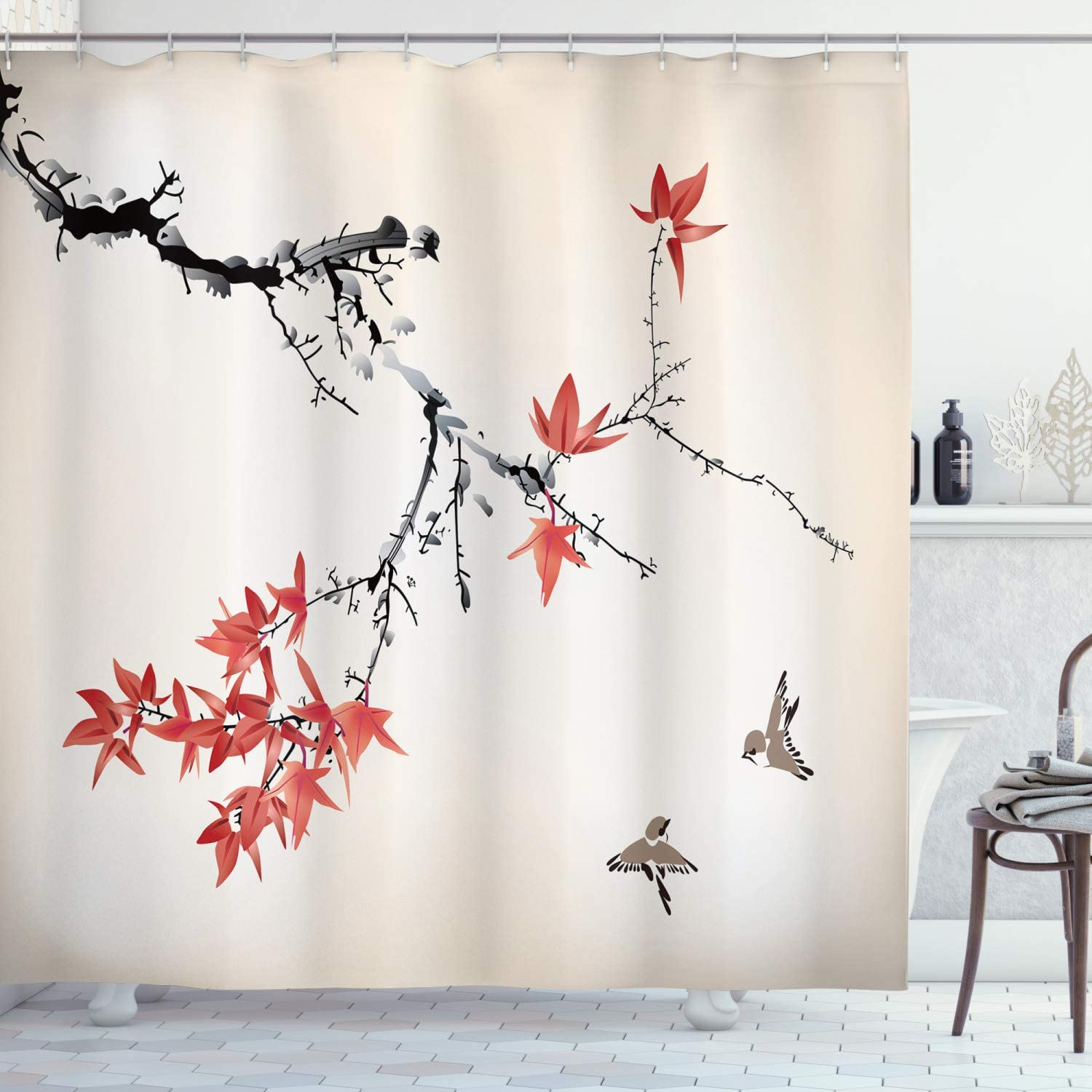 "Ambesonne Japanese Shower Curtain, Cherry Blossom Sakura Tree Branches Romantic Spring Themed Watercolor Picture, Cloth Fabric Bathroom Decor Set with Hooks, 70"" Long, Coral Black"