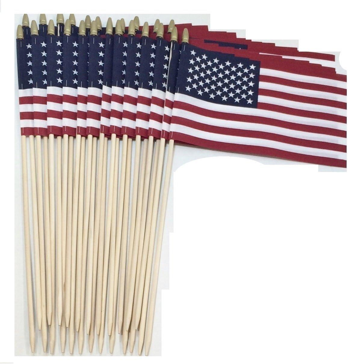 United States of America USA US 4x6in Stick Flag mini desk gold spear-tip each