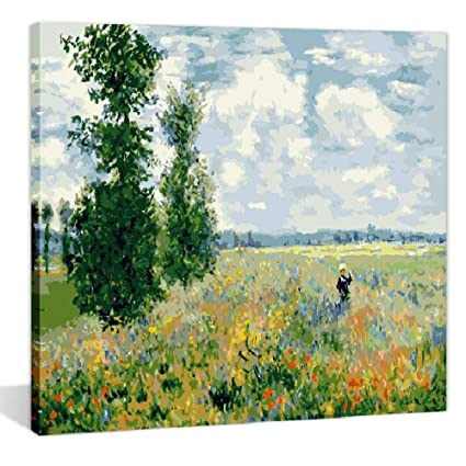 8e463740b Amazon.com: Paint by Numbers 16 x 20 inch Canvas Art Kit DIY Oil Painting  for Kids/Students/Adults Beginner, Monet Tea Tree Flowers