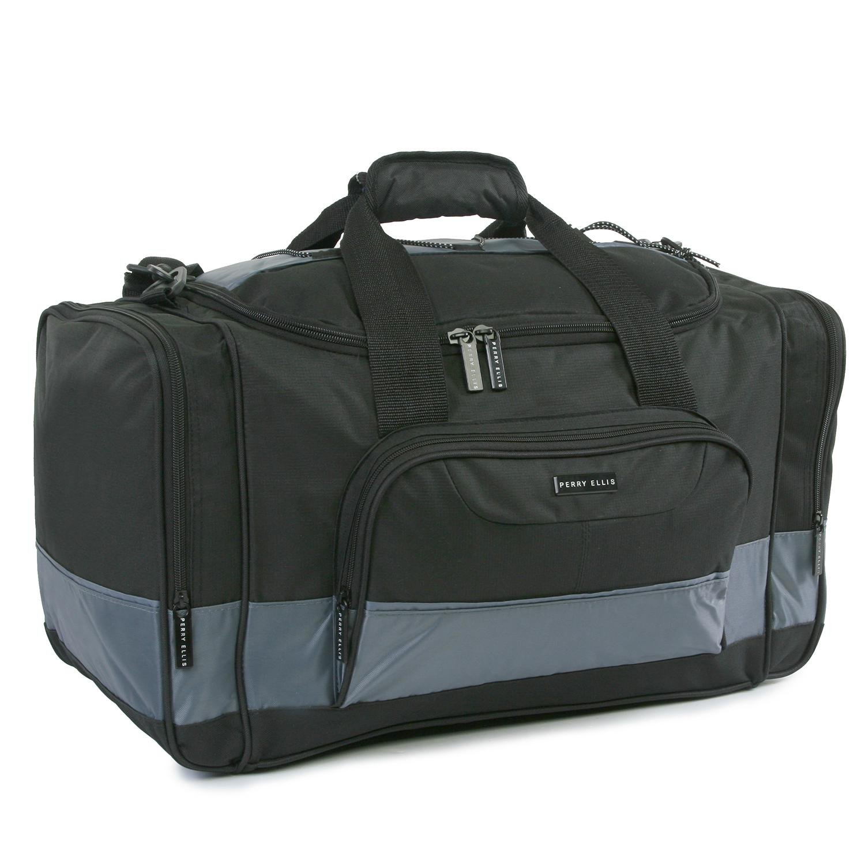 Perry Ellis Business Duffel Bag - Medium Duffel Bag, Black/Grey by Perry Ellis