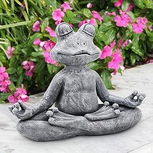 "LIMEIDE Meditating Zen Yoga Frog Figurine Garden Statue - Indoor/Outdoor Garden Sculpture for Home, Patio, Yard or Lawn 12.5"", Handmade Poly Resin Grey Stone Finish"
