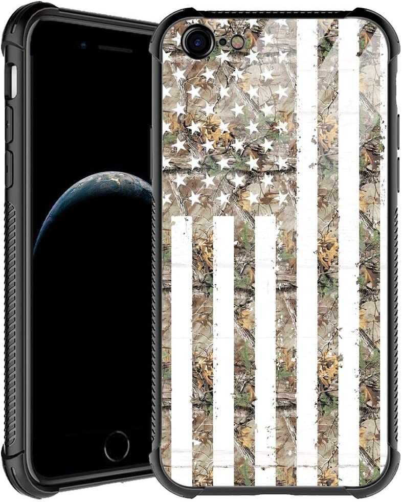 iPhone 6s Plus Case,Green Camouflage American Flag iPhone 6 Plus Cases for Men Boys,Shockproof Anti-Scratch Soft TPU Pattern Design Case for Apple iPhone 6/6s Plus Green Camo USA Flag