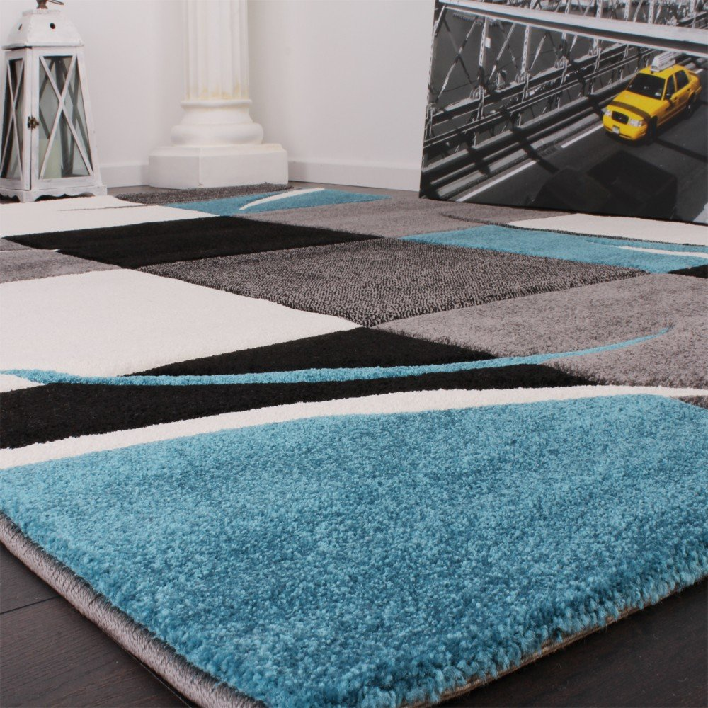 Designer Teppich mit Konturenschnitt Karo Muster Türkis Grau, Grösse ...