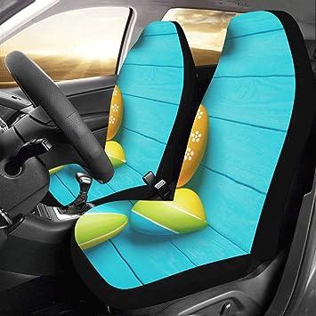 Amazon.com: Juego de 2 fundas de asiento de coche con diseño ...