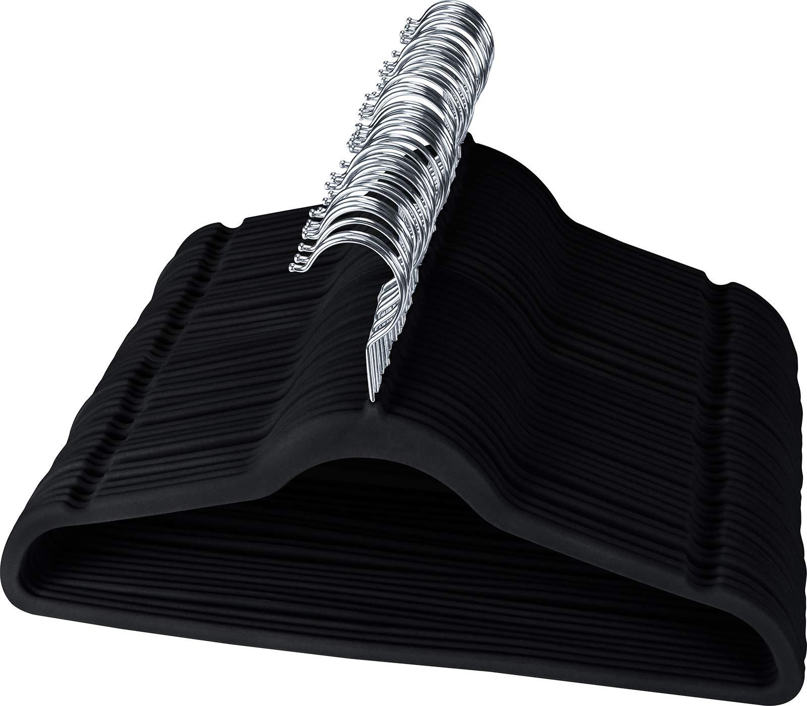 Utopia Home Premium Non-Slip Velvet Hangers (Pack of 50) - Heavy Duty - Coat Hangers - Pant Hangers - Black by Utopia Home