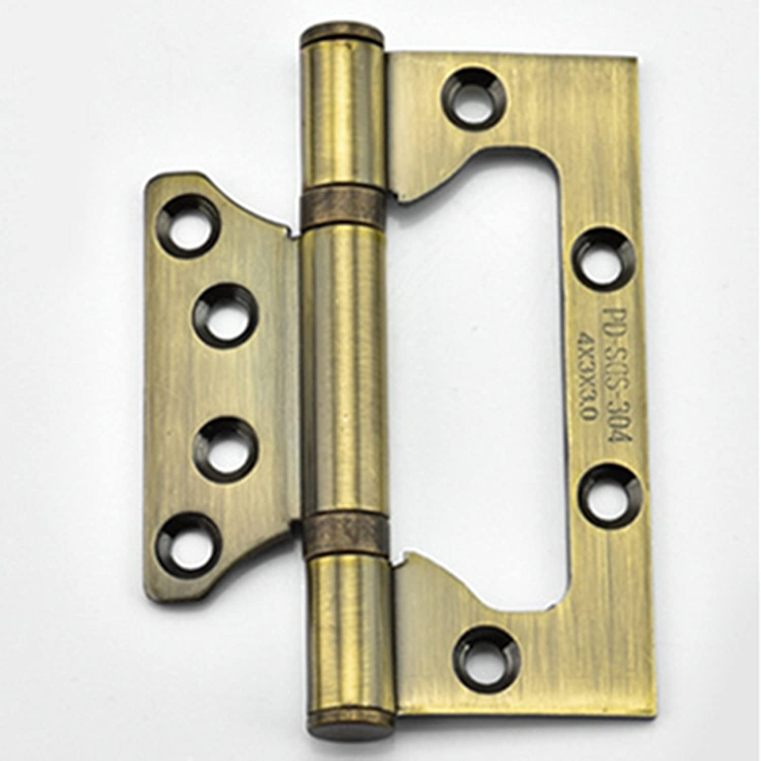 Non-Mortise Bi-Fold Mute Door Hinges Stainless Steel,A pair 100 x 50 x2.3 mm RZDEAL SU304G 5.25 inch