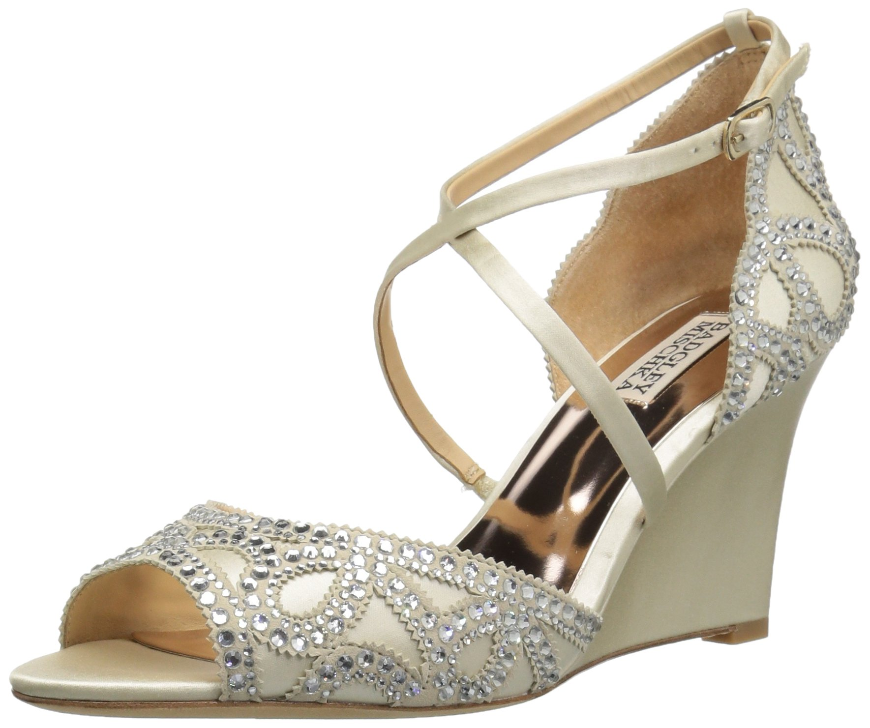 Badgley Mischka Women's Winter Wedge Sandal, Ivory, 7 M US