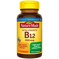 Nature Made Extra Strength Vitamin B12 2500 mcg Tablets, 60 Count (Packaging May...