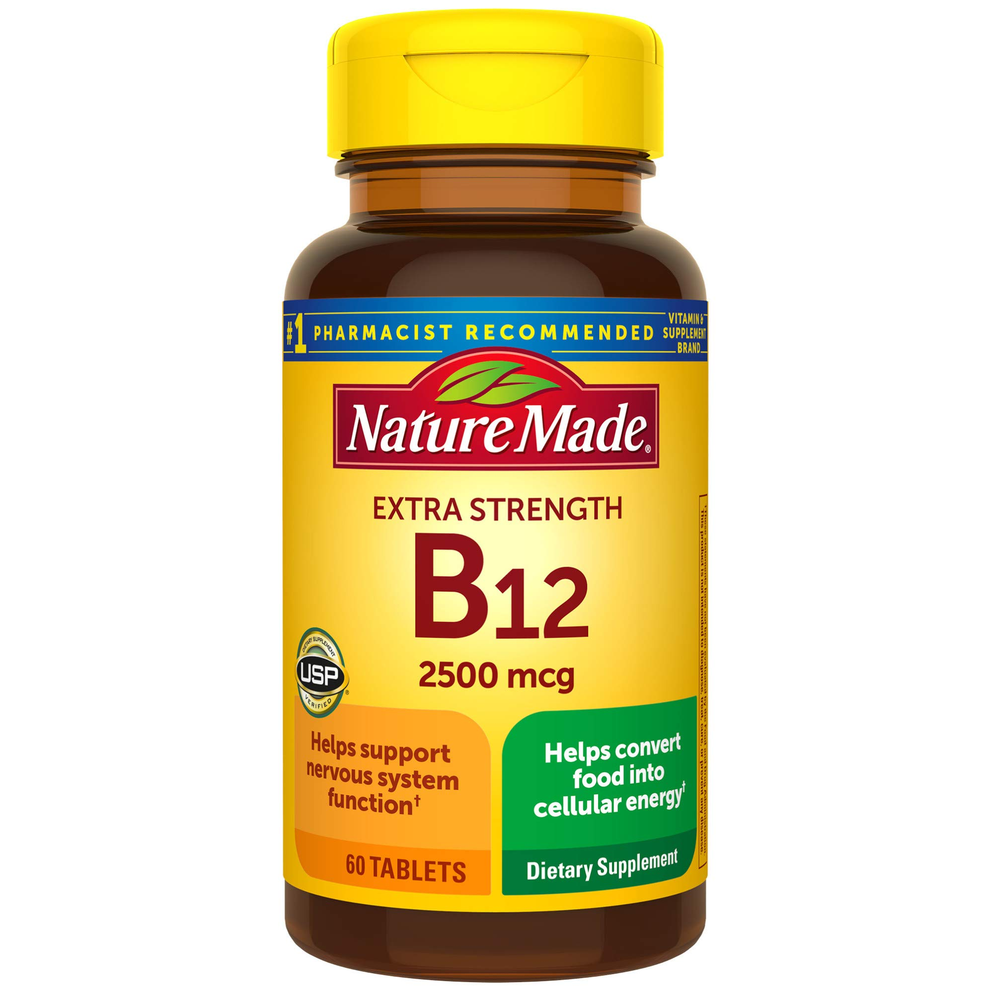 Nature Made Extra Strength Vitamin B12 2500 mcg Tablets, 60 Count