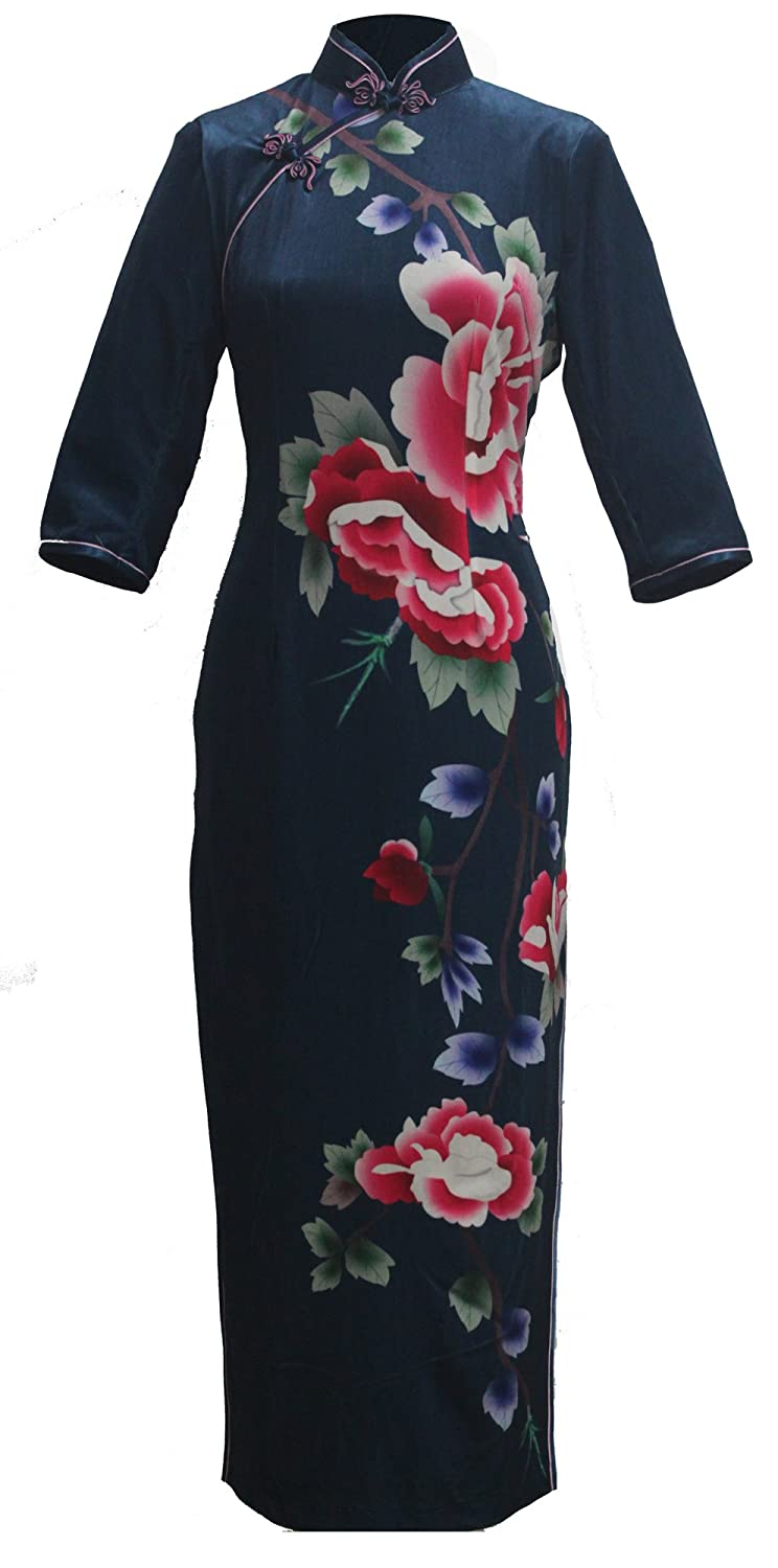 7Fairy Women's Dark Blue Peony Printed Chinese Velvet Prom Long Dress