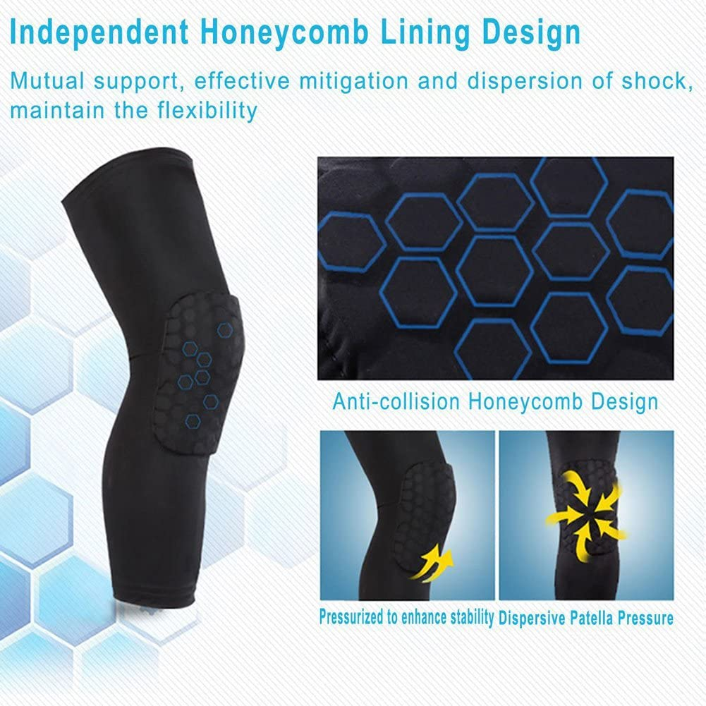 Basketball Football Volleyball Sport Strengthen Knee Pads with Antislip Honeycomb Pads Support Long Leg Sleeve Protector Gear