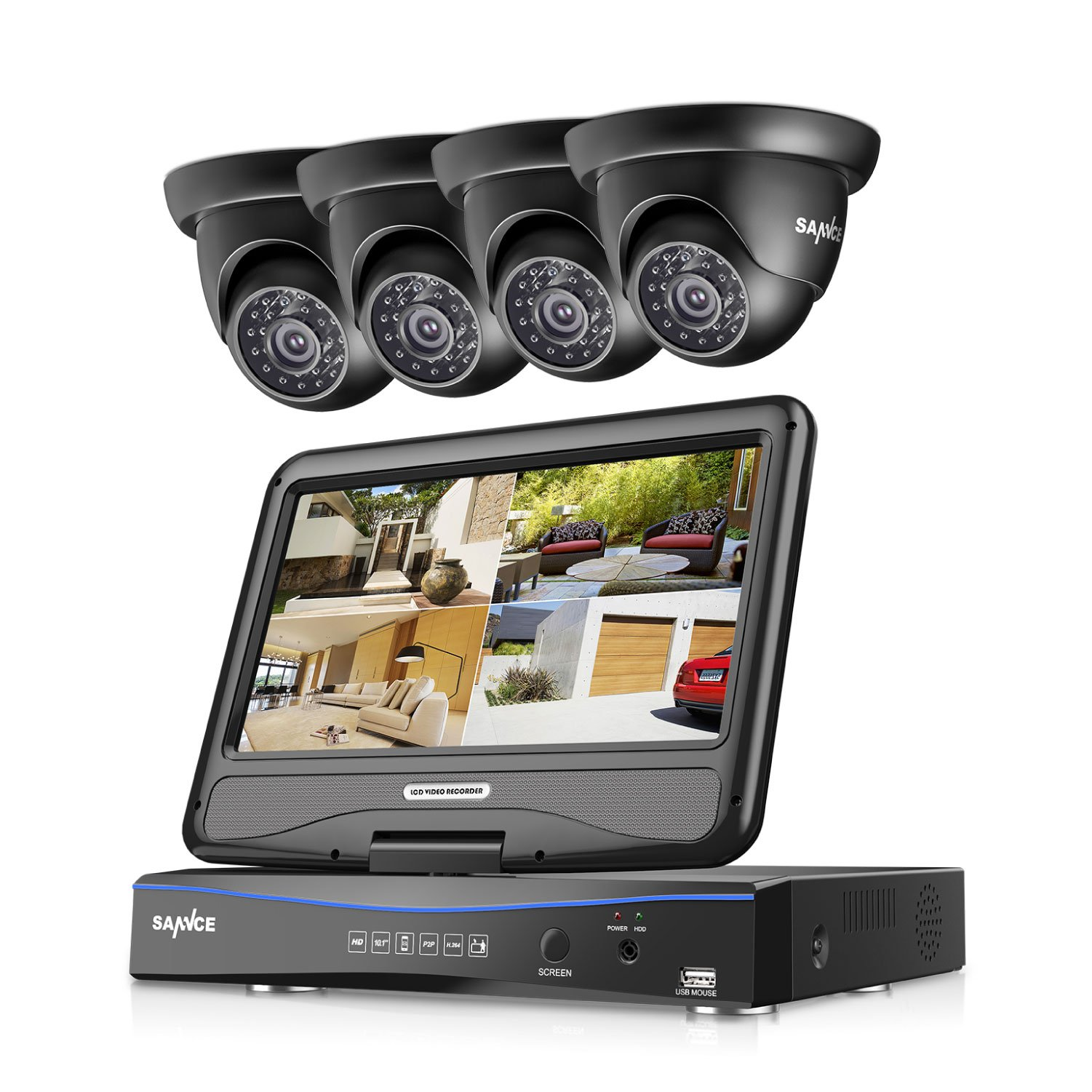 SANNCE 4CH 720P DVR Security Camera System and 4pcs 1.0 MP 1280TVL Bullet CCTV Cameras, Built-in 10.1 inches Monitor, Support P2P Technology, QR Code Scan Phone Remote Access Viewing - NO HDD by SANNCE