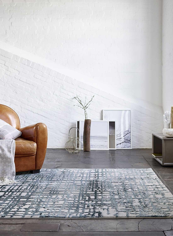 ESPRIT Velvet Grid Moderner Markenteppich, Polypropylen Polyester, Petrol, 170 x 120 x 1.2 cm