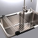 Dish Rack Sponge Holder Stainless Steel Roll up Shelf Over Sink Drainer Large (18x15.7x0.7) inch