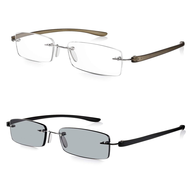 Gafas de Sol Graduadas READ OPTICS de Lectura Hombre/Mujer: Lentes para Leer +2.5 Dioptrías-Tintadas con Protección UV-400   Ligeras y Resistentes Sin ...