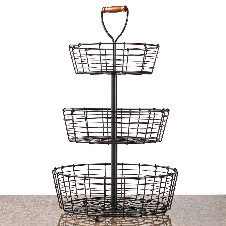 Amazon.com: Giftburg 3-Tier Wrought Iron Display Wire Basket, 25.5 ...
