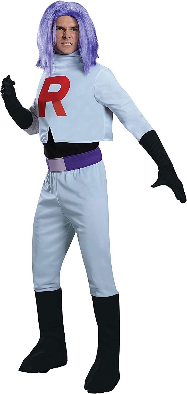 Pokèmon James Team Rocket Costume Adult One Size Fits Most: Amazon ...