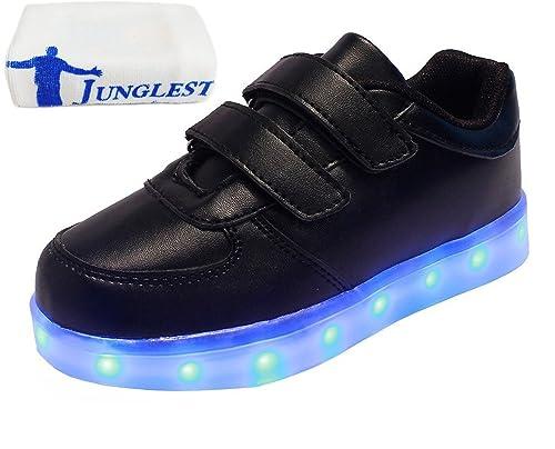 (Presente:Pequeña Toalla) JUNGLEST USB Carga de la Zapatilla Zapatillas de Deporte con 7 Colores de Iluminación LED Intermitente para los Amantes de N: ...