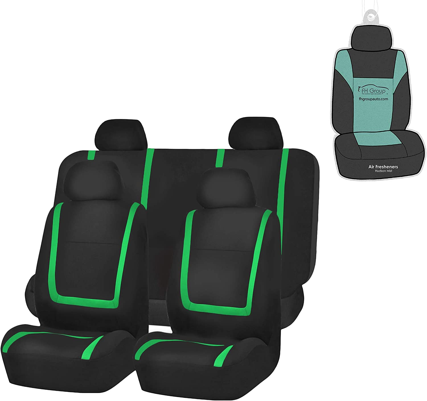 FH Group FB032114 Unique Flat Cloth Seat Covers (Green) Full Set with Gift – Universal Fit for Cars Trucks & SUVs