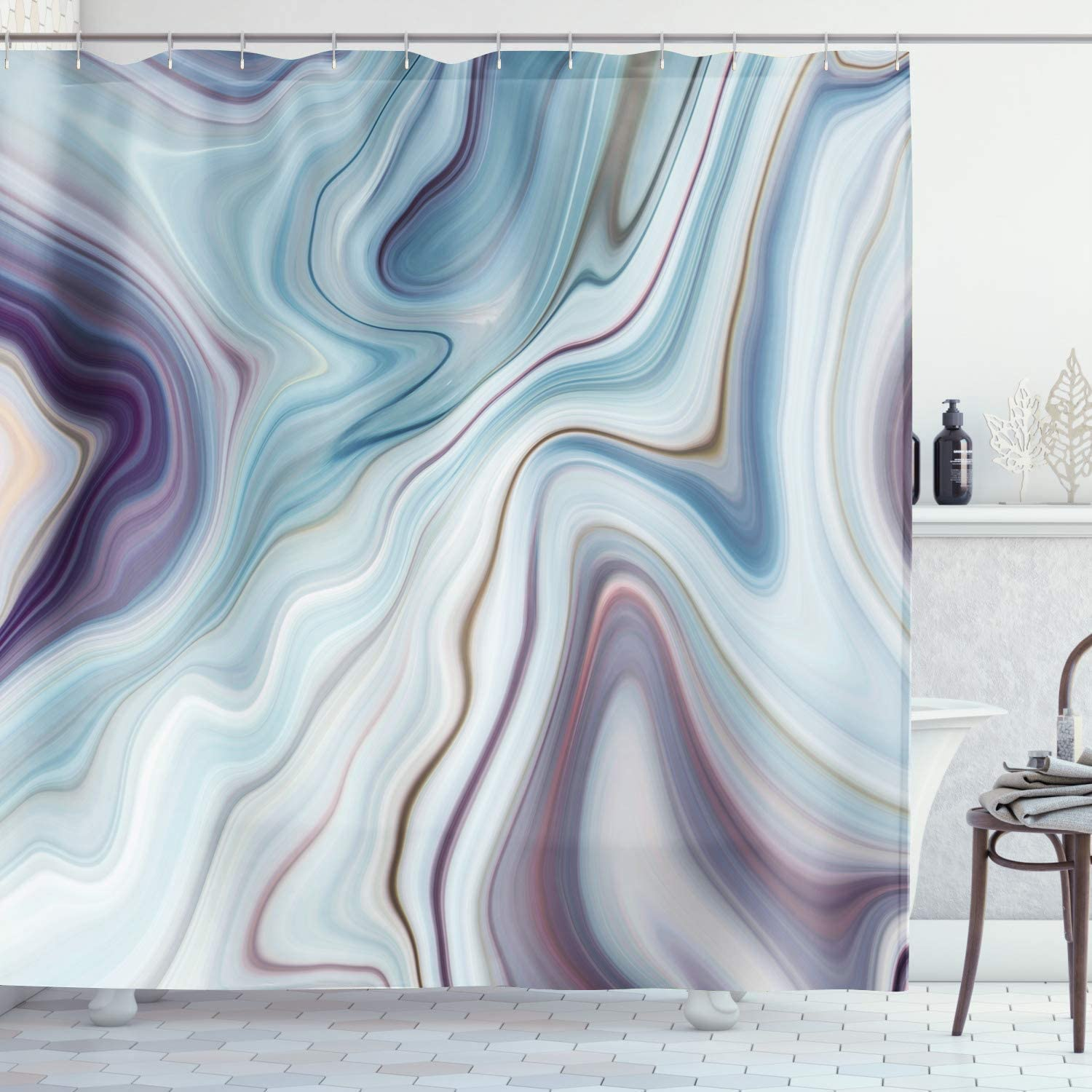 AMBZEK Marble Shower Curtain Granite Ink Liquid Cracked Lines Hazy Stripes Vintage Artistic Natural Abstract Artwork Cloth Fabric Bathroom Decor Set with 12 Pack Hooks 60x71inch, Blue Purple Gray