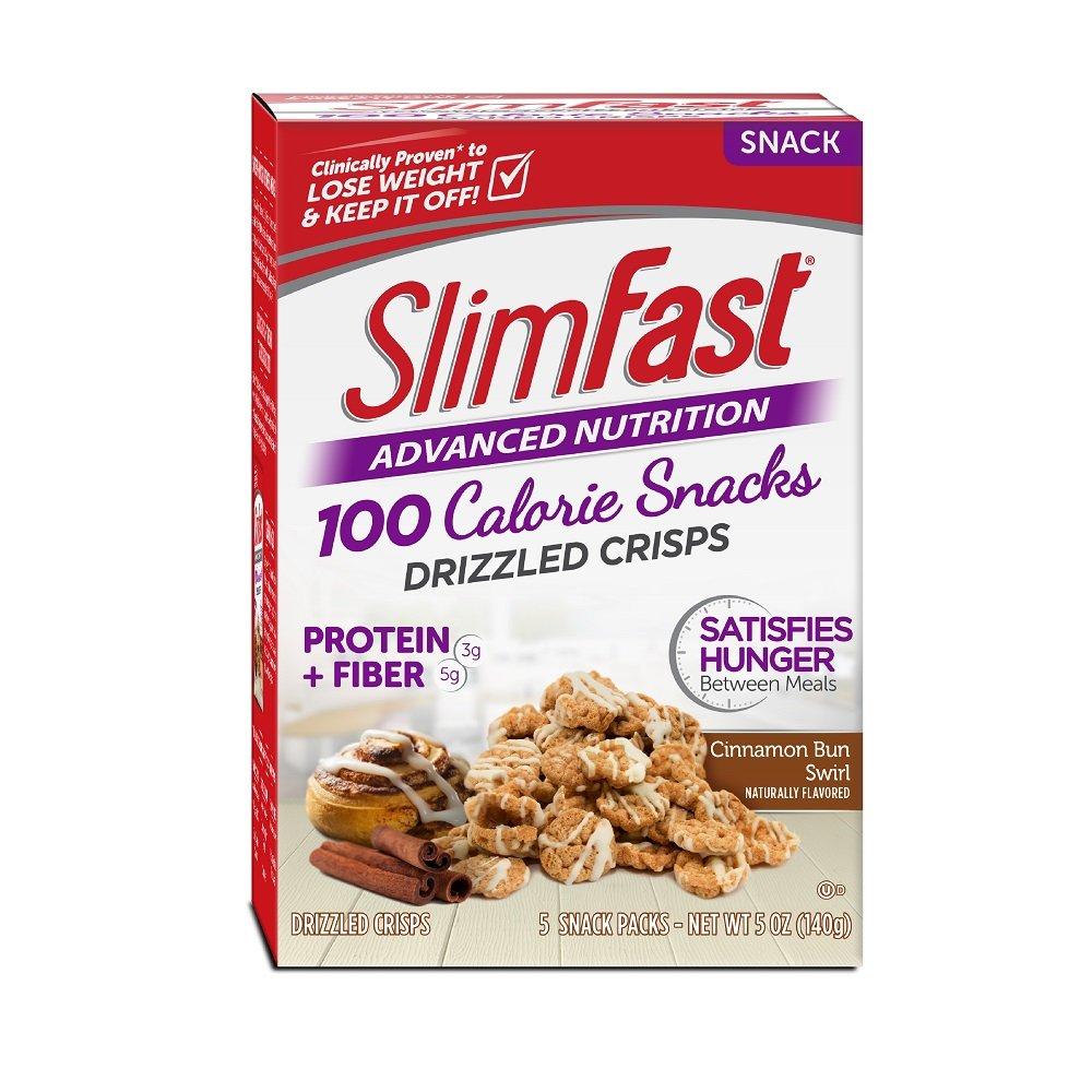 Slim Fast Advanced Nutrition 100 Calorie Snacks, Drizzled Crisps, Cinnamon Bun Swirl, 1oz 5 Bags,(Pack of 2)