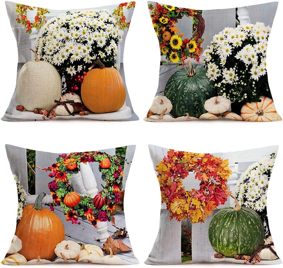 Tlovudori Pack of 4 Autumn Harvest Farm Pumpkin Throw Pillow Covers Fall Maple Leaves Sunflowers White Daisies Flowers Decorative Pillowcase Cotton Linen Home Decor Cushion Cover 18