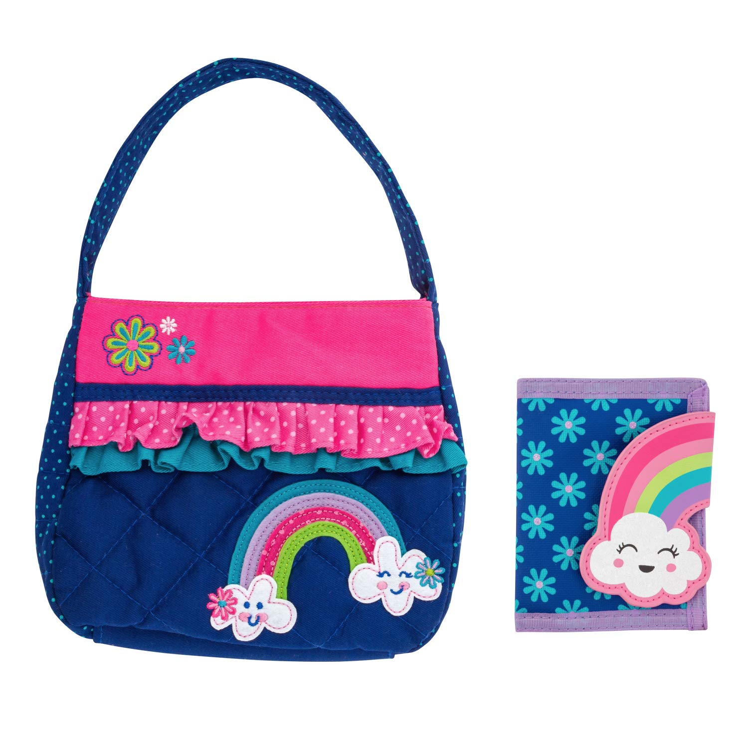 Stephen Joseph Girls Quilted Rainbow Purse and Wallet