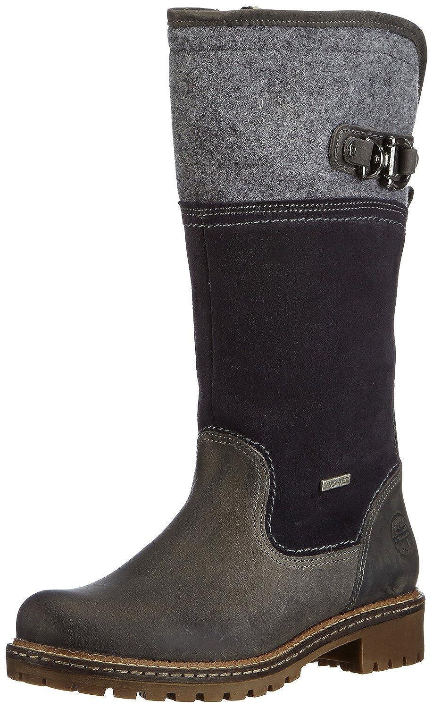 Tamaris Stiefel aus Leder und Wildleder, Tweed, winterstiefel, Schaf mit Wolle gefüttert Schwarz