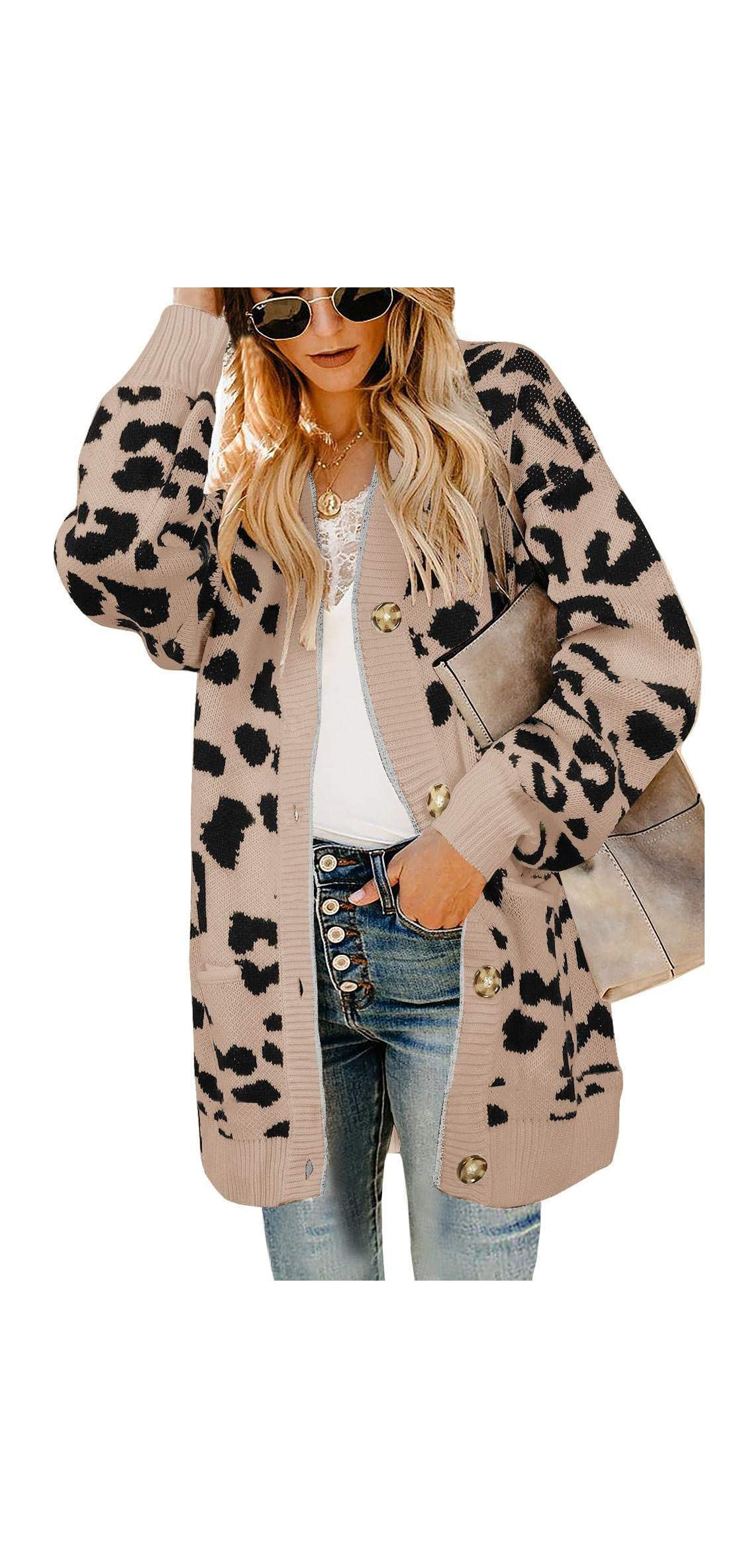 Womens Leopard Long Cardigans Sweater Oversized Chunky