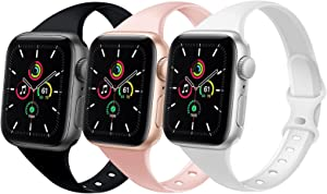 DYKEISS Sport Slim Silicone Band Compatible for Apple Watch Band 38mm 42mm 40mm 44mm, Thin Soft Narrow Replacement Strap Wristband for iWatch Series 5/4/3/2/1 (Black/Sand Pink/White, 42mm/44mm)