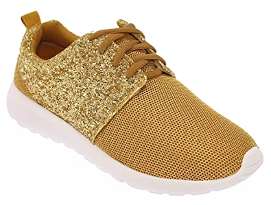 34930ba19f47 Image Unavailable. Image not available for. Colour  Womens Ladies Half  Glitter Sparkly Trainers Pumps Casual Shoes Girls Bling