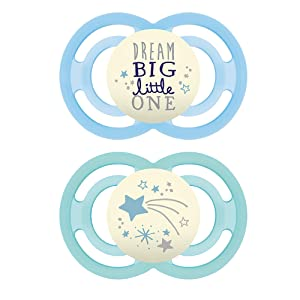 MAM Perfect Night Pacifiers, Glow in the Dark Pacifiers (2 pack) MAM Pacifiers 6 Plus Months, Baby Boy Pacifier, Designs May Vary