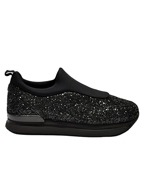 Hogan Slip On Sneakers Donna HXW2220AR40JTVB999 Glitter Nero  Amazon.it   Scarpe e borse 2b01c9dcbe7