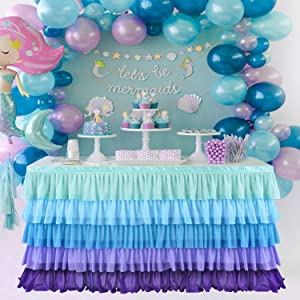 KIXIGO Mermaid Tulle Table Skirt Table Cloth for Rectangle or Round Table, Table Skirting for Wedding,Birthday,Baby Shower,Party Home Decoration (Mermaid, L 9(ft) H 30in)