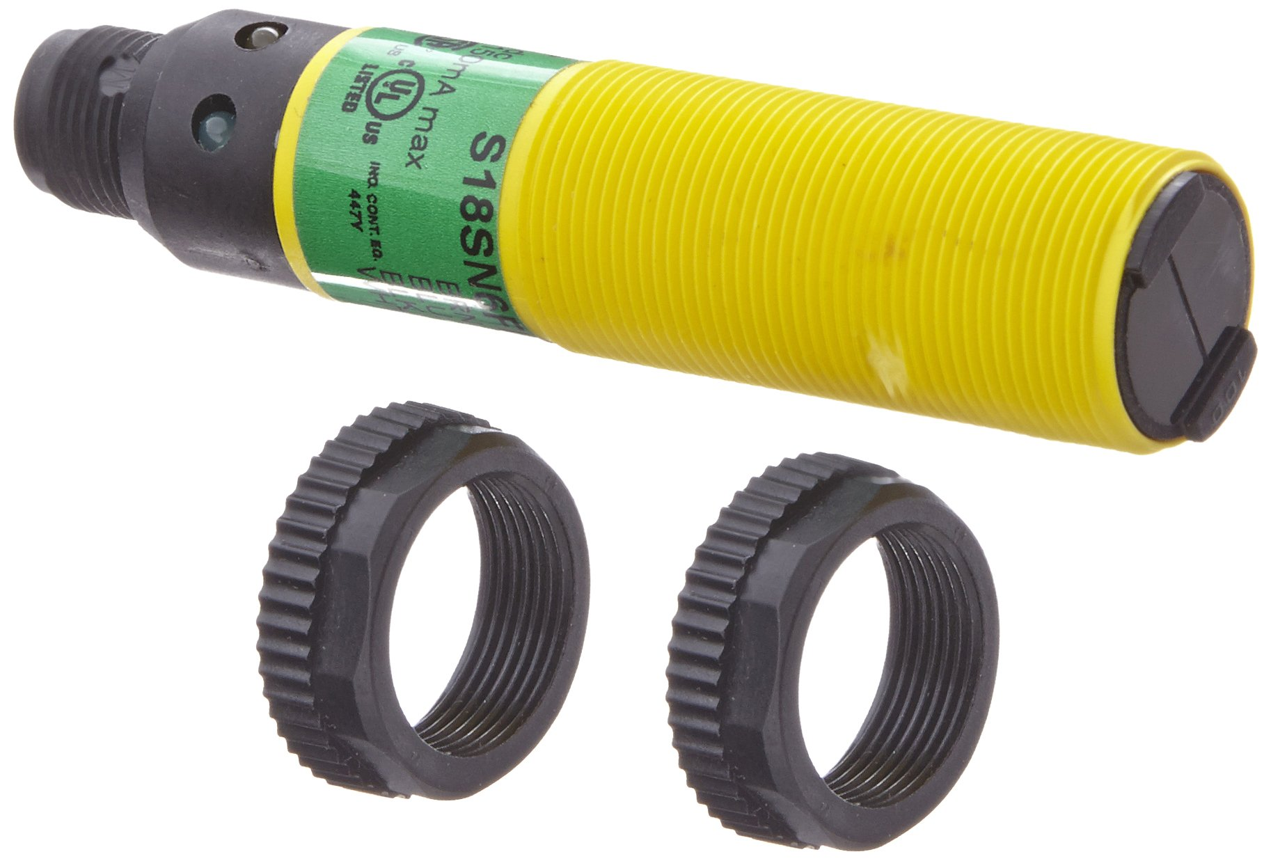 Banner S18SN6FF100Q EZ Beam Barrel-Style Sensor, Fixed-Field Background-Suppression Mode, 4-Pin Euro-Style QD Connector, Infrared LED, 10-30 VDC Supply Voltage, NPN Output, 100 mm Sensing Range