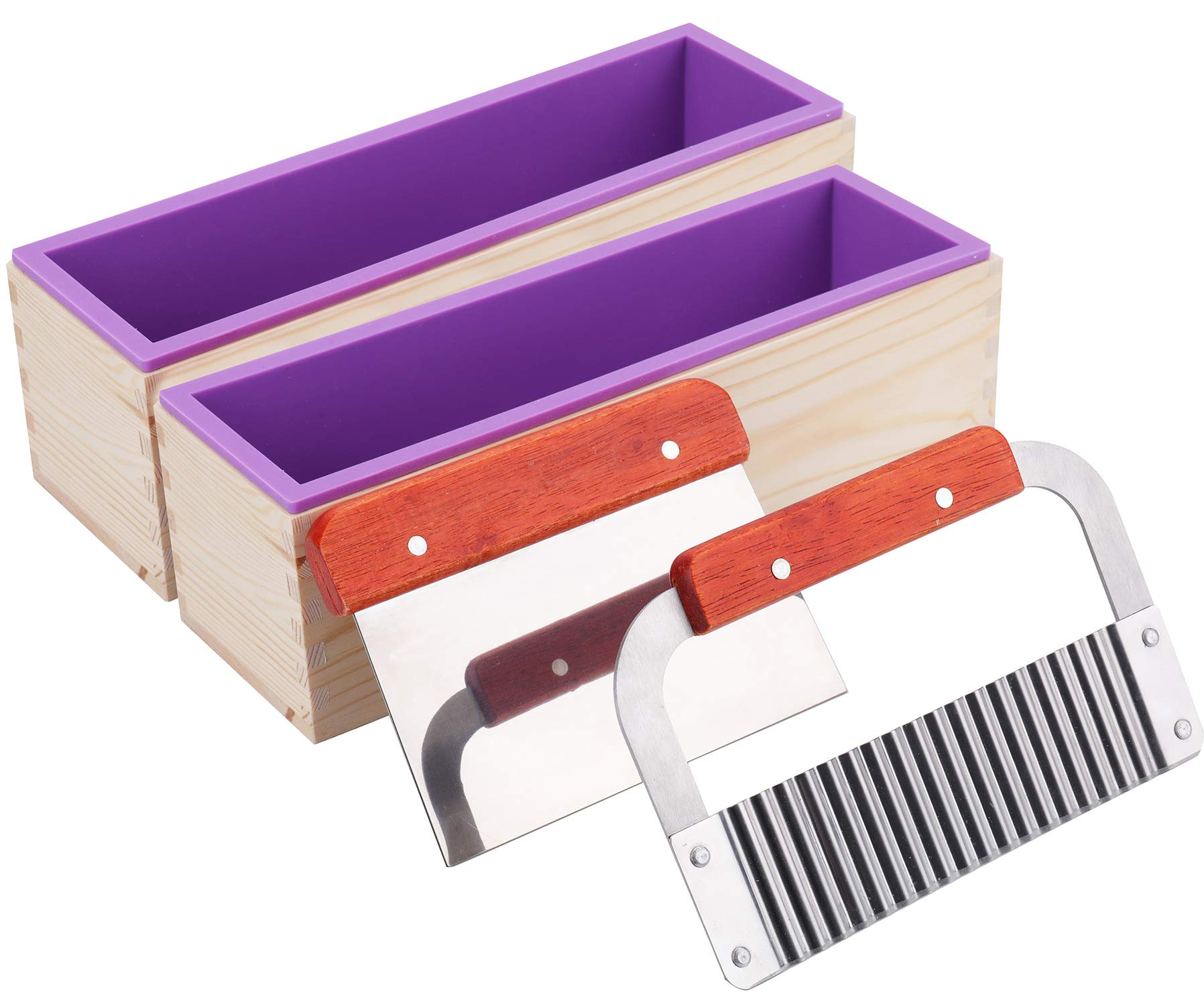 Lawei 2 Pack Silicone Soap Molds Kit - 42 oz Loaf Soap Molds with Wood Box and 2 Cutters, Soap Making Molds for CP and MP Making
