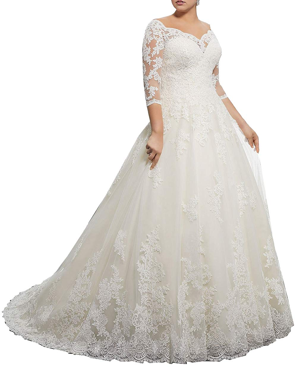 Wedding Dress Lace Bridal Dresses with Long Sleeves Plus Size Wedding Gown