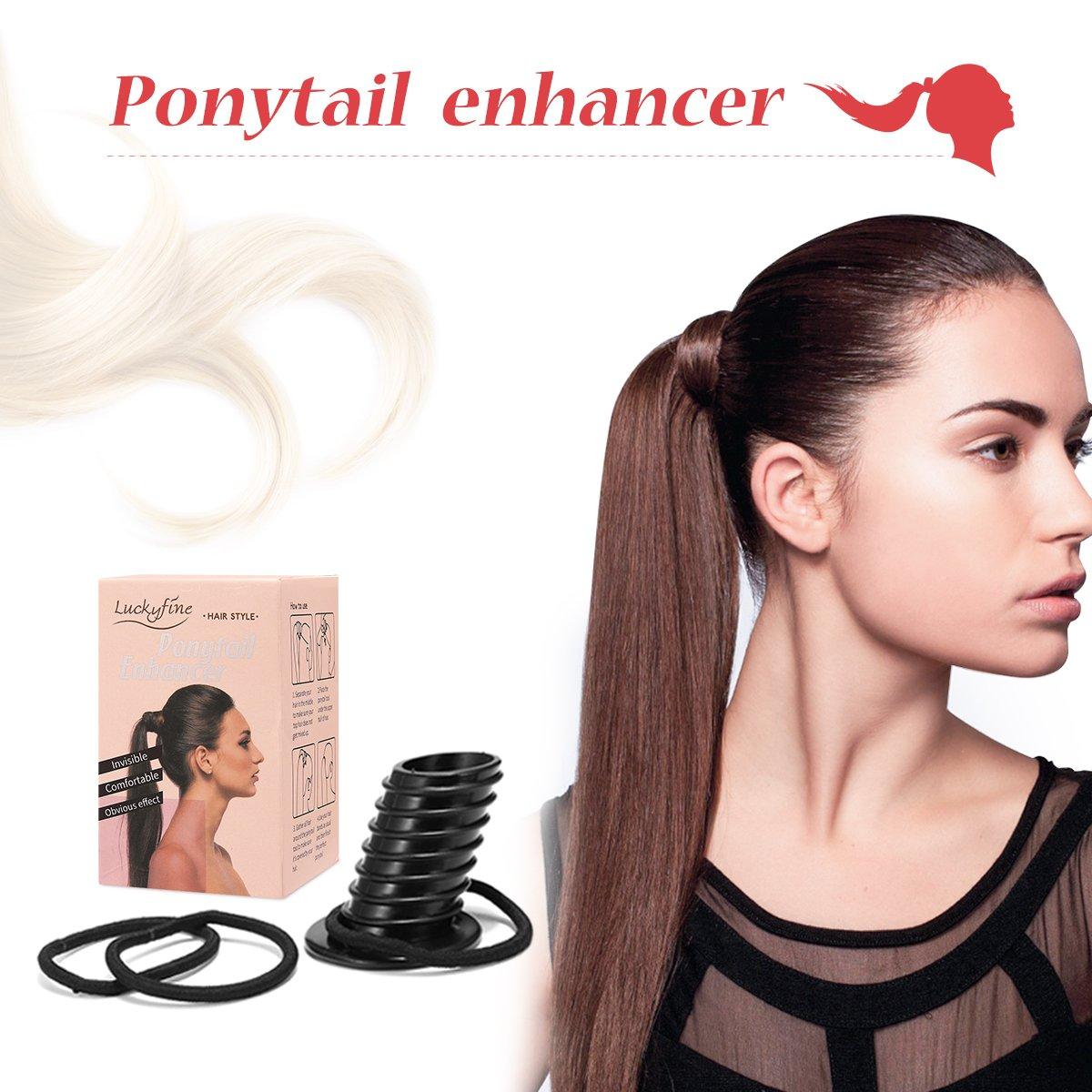 Perfect Pony Volume Lift Outil Luckyfine- Queue de Cheval Pony Bouffant Coiffure -Créer la Parfaite Pony Chignon de Cheveux- Styling Braid Outil de Support en forme de Donut Chignon de Cheveux- pour Tous les Types de Cheveux