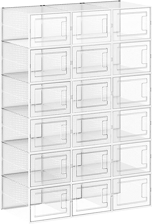 f/ür Schuhe bis Gr/ö/ße 44 Schuh-Organizer transparent-wei/ß LSP08MWT 8er Set faltbar und stapelbar Kunststoffboxen SONGMICS Schuhboxen Aufbewahrungsboxen f/ür Schuhe