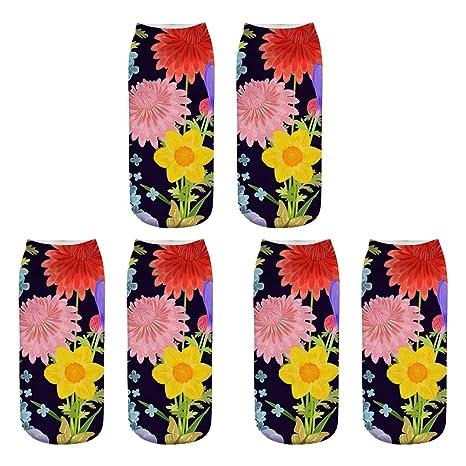 Scrox 3 Pares Calcetines para Hombre,Mujer y Niño 3D Planta Tropical Patrón Socks Unisex
