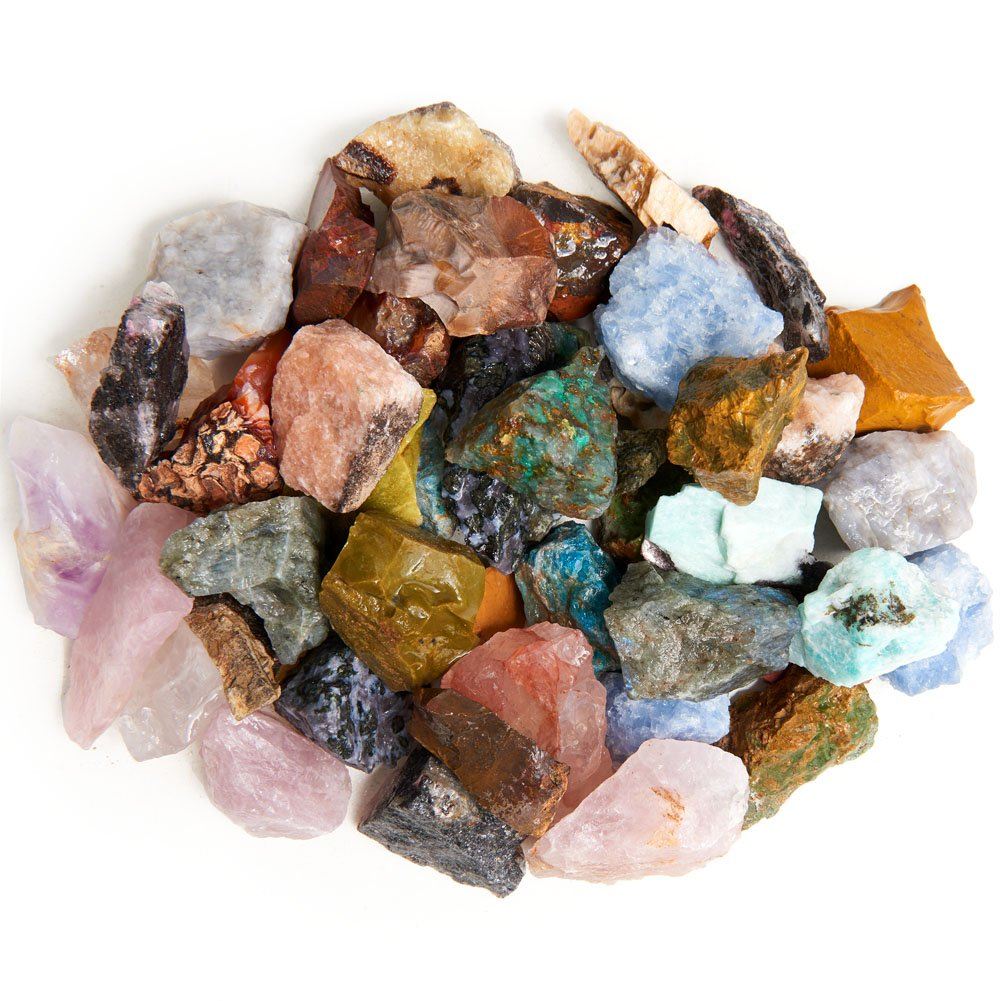 Digging Dolls: 3 lbs of a 28 Stone Type (HUGE VARIETY) Madagascar Rough Mix - Large Size - 1'' to 1.5'' Average - Raw Rough Rocks for Arts, Crafts, Tumbling, Polishing, Gem Mining, Wire Wrapping!