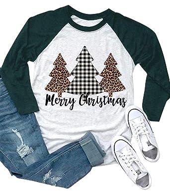 Amazon.com  Womens Merry Christmas Plaid Leopard Printed Tree Baseball T-Shirt  Tee 3 4 Sleeve Letter Print Tops for Women  Clothing c702b9ad1