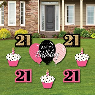 product image for Big Dot of Happiness Finally 21 Girl - 21st Birthday - Yard Sign and Outdoor Lawn Decorations - 21st Happy Birthday Party Yard Signs - Set of 8