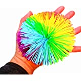 EDUCATION THROUGH PLAY 4.5Inch Large Rainbow Stringy Ball Silicone Bouncing Fluffy Jugging Ball,Monkey Stress Ball (1 Piece Large, Rainbow)